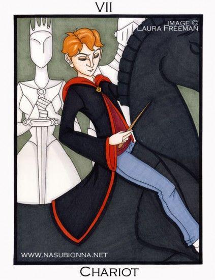 Fan-made Harry Potter Tarot Cards by Laura Freeman: Named Harry, Potter Themed Tarot, Trolley, Deviantart, Harry Potter Themed, Tarot Cards, Fan Made Harry, Potter Tarot, Tarot Decks