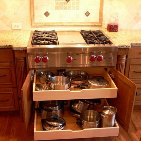 drawer for pans under stove top. This would be great if you do a double oven somewhere else in kitchen instead of under the stove.