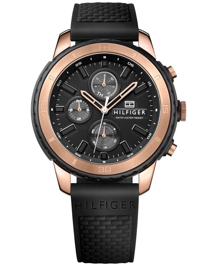 Tommy Hilfiger Men's Flynn Black Silicone Strap Watch 47mm 1791195