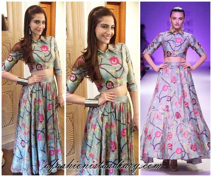 Sonam Kapoor looking uber stylish in this matching Payal Singhal top and skirt #PayalSinghal #SonamKapoor  #DesignerDressesOnline #Stage3 #GetTheLook