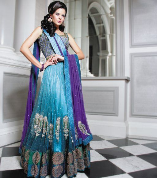 Purple and Teal Gathered Lengha by Sonas Haute Couture