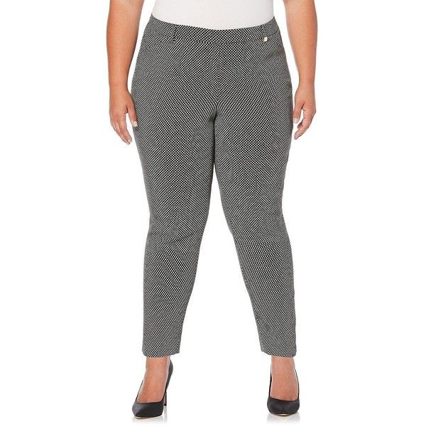 Rafaella Plus Women's Patterned Stretch Dress Pants ($39) ❤ liked on Polyvore featuring plus size women's fashion, plus size clothing, plus size pants, black, print pants, print stretch pants, slacks pants, stretch waist dress pants and patterned pants