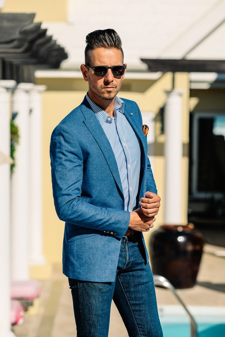 Fancy, Dapper, Men, Smart, Casual, Blue Blazer, Leather Shoes, Brown, Shoes, Sunglasses, Menswear, Mens Style, Fashion, Mens Fashion, Wardrobe, City Style, Close Up, RayBan, Belts, Close Up