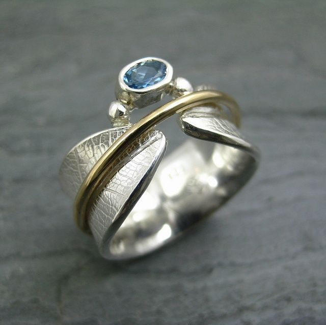 Custom Bodhi Leaf Spinner Ring with Aquamarine by ...