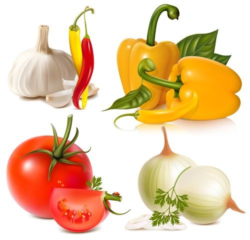 Vivid Fresh vegetables and fruits vector 02