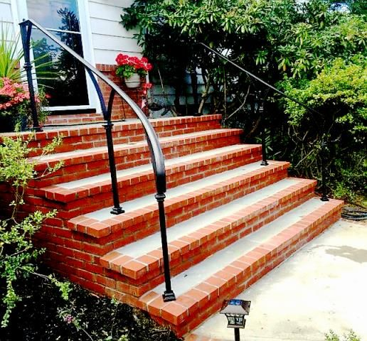 Simple post and top rail railing with decorative collars - Exterior wrought iron handrails for steps ...