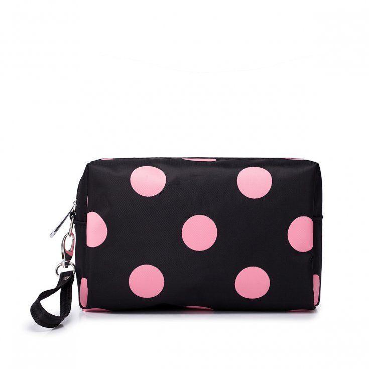 Cosmetic Bag With Pink Polka Dot