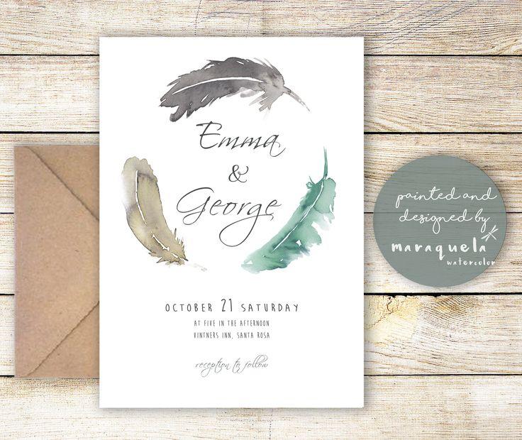 "Wedding invitation ""Emma Collection"", watercolor feathers,wedding invitations,elegant design,fine style,boho,feather,handmade,bodas,invitaciones,invites,painted and design by MARAQUELA WATERCOLOR"