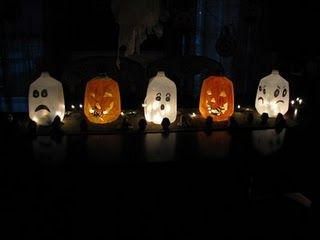Milk jug pumpkins and ghosts with Christmas lights