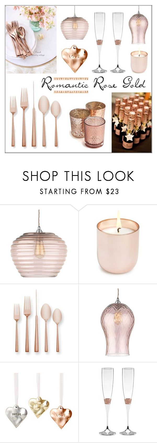 """Romantic Rose Gold"" by lgb321 ❤ liked on Polyvore featuring interior, interiors, interior design, home, home decor, interior decorating, Heathfield & Co., Jonathan Adler, Kate Spade and Lunares"