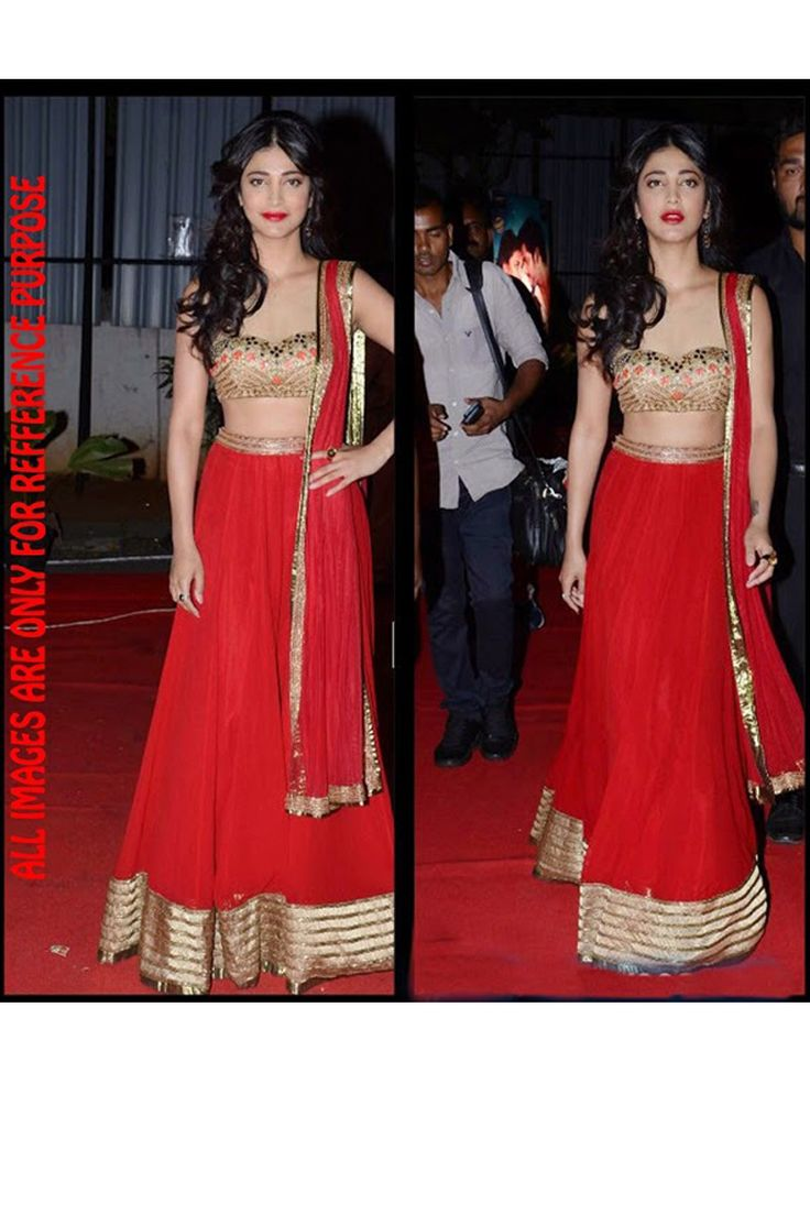 Red Color Bollywood Lehenga Online From Skysarees.