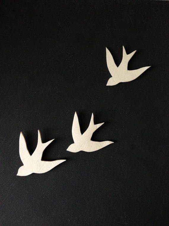 Porcelain swallows wall art Wall sculpture Bathroom Art Bathroom decor Modern decorative ceramic wall decor Set of three birds