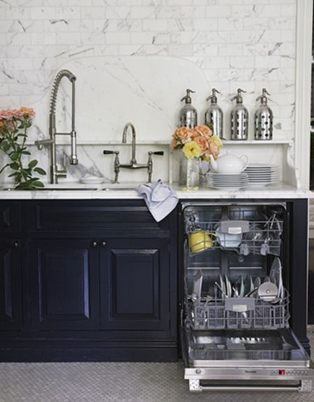 Dark Blue Cabinetry With White Marble