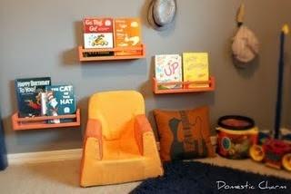 3.99 spice racks from IKEA turned book shelves for kids room!