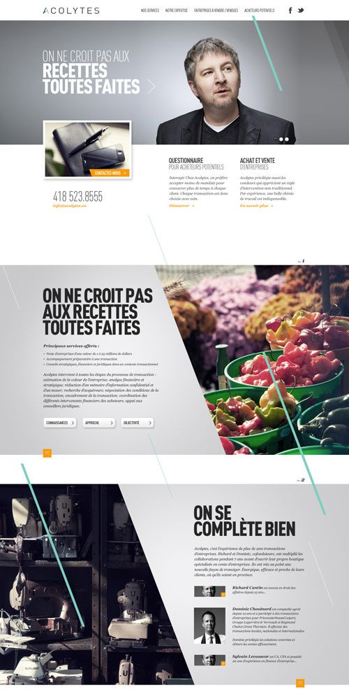 Acolytes Website by Alexandre Desjardins. 9 Stunning Websites with Sectioned Layouts #webdesign #inspiration
