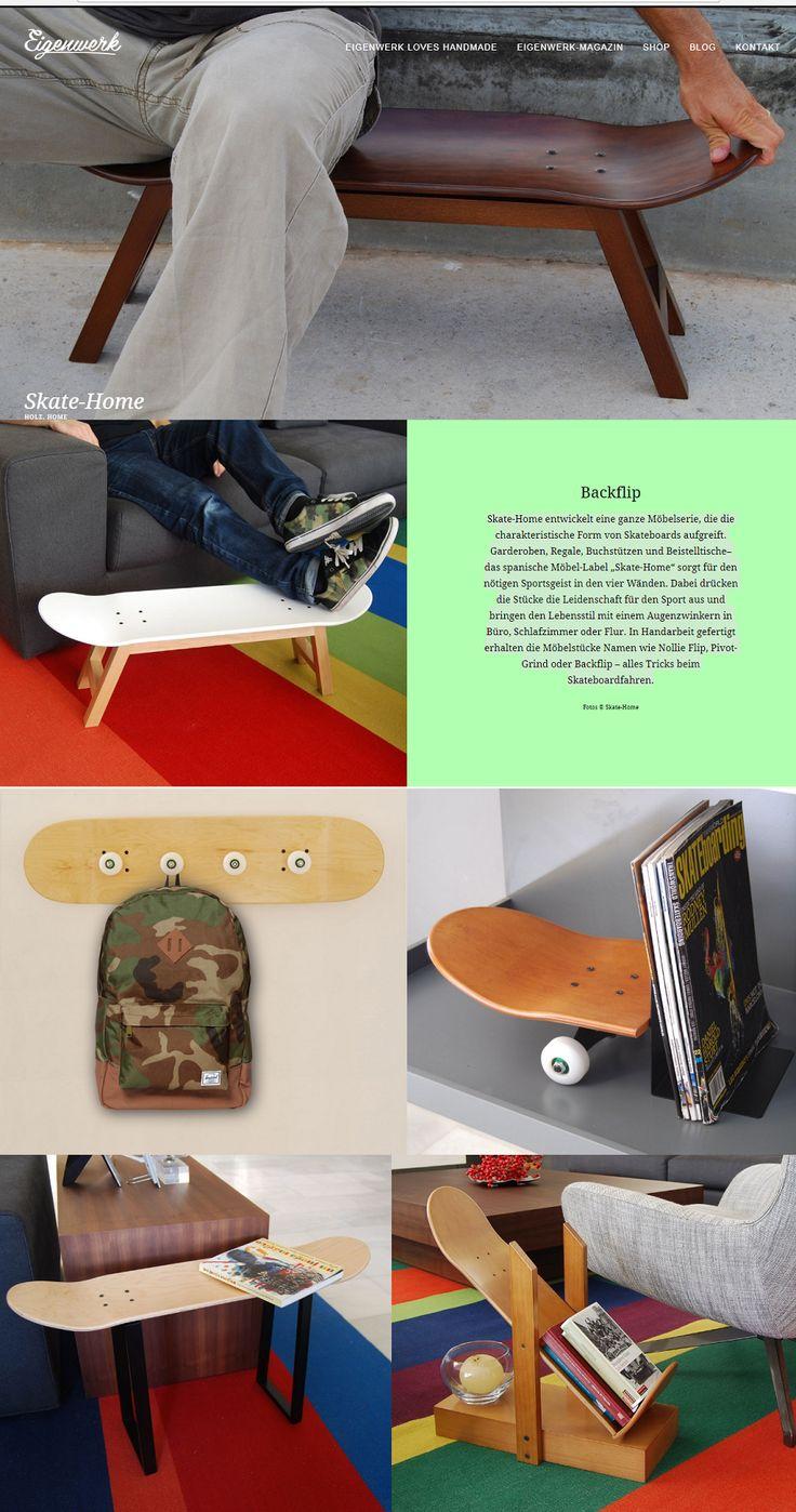 """Skate-Home entwickelt eine ganze Möbelserie, die die charakteristische Form von Skateboards aufgreift. Garderoben, Regale, Buchstützen und Beistelltische– das spanische Möbel-Label """"Skate-Home"""" sorgt für den nötigen Sportsgeist in den vier Wänden. Dabei drücken die Stücke die Leidenschaft für den Sport aus und bringen den Lebensstil mit einem Augenzwinkern in Büro, Schlafzimmer oder Flur. In Handarbeit gefertigt erhalten die Möbelstücke Namen wie Nollie Flip, Pivot-Grind oder Backflip."""