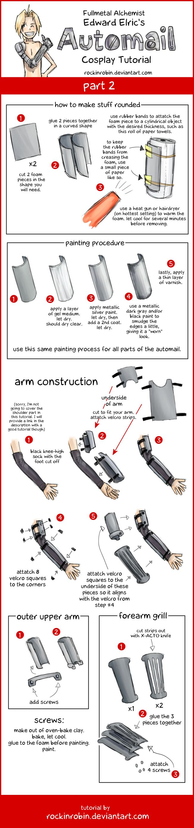 Cosplay Automail Tutorial 2 by rockinrobin on deviantART - Use this tutorial and change the design to make any other kind of mecha-prosthetics or armor.