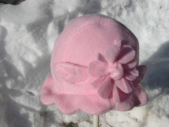 Child's Pink Polar Fleece Hat with Flower