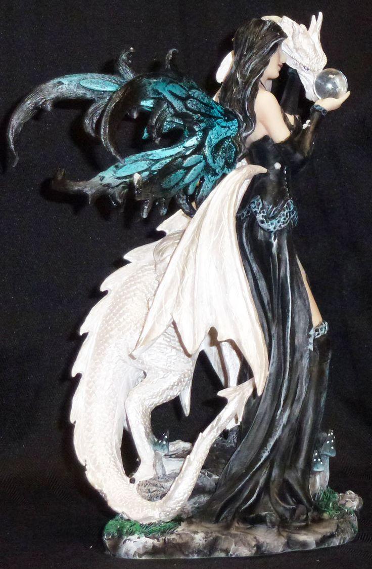 Dragon And Fairy Figurines | Dark Fairy with White Dragon Crystal Statue Figurine | eBay