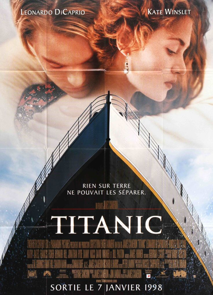 """Film: Titanic (1997) Year poster printed: 1997 Country: France Exact Size: 45.75"""" x 62.25"""" """"Nothing on Earth could come between them."""" This is a vintage French """"grande"""" movie poster from 1997 for Tita"""