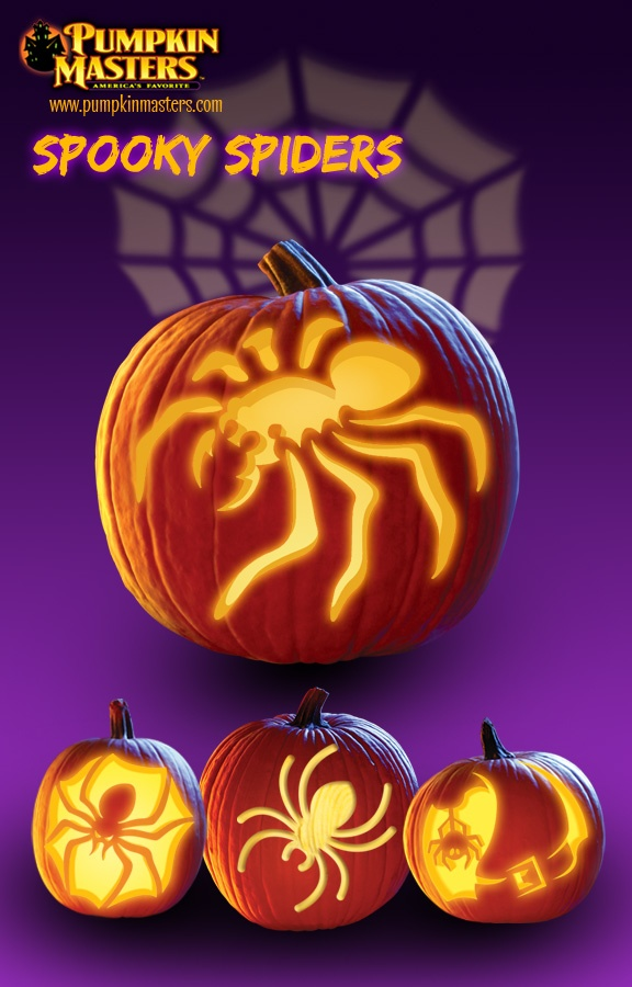 """Spooky Spiders from Pumpkin Master's carving kits. From top: """"Captive Prey"""" from Sensational Shadows Kit, """"Brown Recluse"""" from Carving Party Kit, """"Spider"""" from Surface Carving Kit, and """"Bewitched Spider"""" from Carving Party Kit."""
