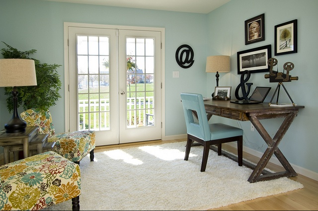 Pale teal study with rustic chic desk. <3