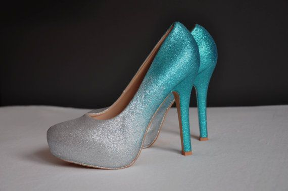 Teal wedding shoes, teal ombre shoes, teal high heels pumps, perfect for brides who need to be a bit taller, high heels in teal and silver ombre color