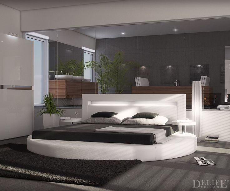 design bett arrondi 180x200 rund mit 2 nachttischen in. Black Bedroom Furniture Sets. Home Design Ideas