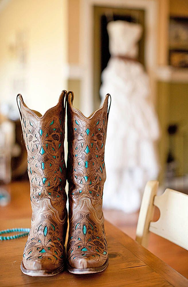 18 Cowgirl Boots Wedding Ideas For Country Weddings ❤ See more: http://www.weddingforward.com/cowgirl-boots-wedding-ideas/ #weddings #shoes
