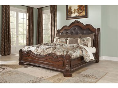 Shop for Millennium King Sleigh Rails, B705-97, and other Bedroom Bed Rails at Trivett's Furniture in Fredericksburg, VA. With the traditional dark cherry stain finish flowing beautifully over the elaborately ornate details, the Ledelle bedroom collection features rich Ash swirl and Birch veneers along with Asian hardwoods and natural marble parquetry tops on the case pieces to create a sophisticated Old World style.