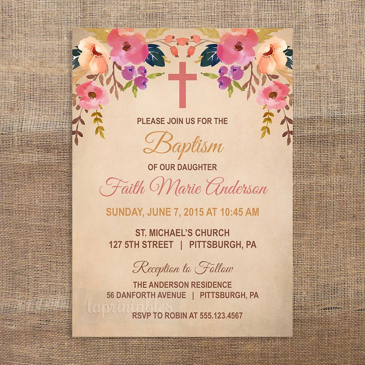 Girl Baptism Invitation, Vintage Flower Baptism Invite, Christian Baptism Invite, Tea Stained Invite, Girl Christening, Printable Invitation by laprintables on Etsy https://www.etsy.com/listing/233328444/girl-baptism-invitation-vintage-flower
