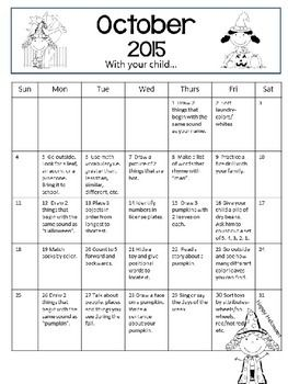 Homework calendar for kindergarten