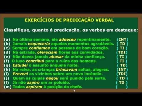 Predicação Verbal Parte 4 - Verbos Transitivos Direto, Indireto. - YouTube