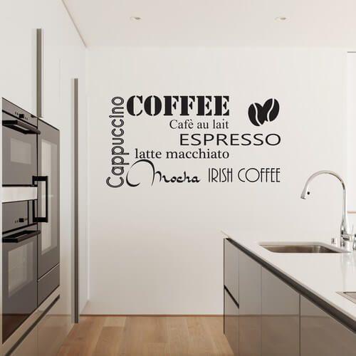 wallstickers med tekst kaffe tekst