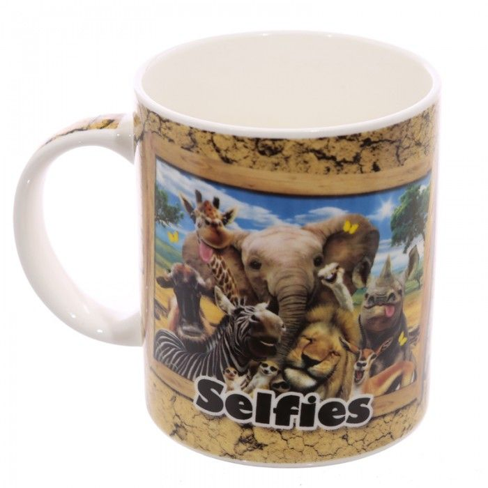 MUG230 - Tazza in Ceramica Bone China - Selfie degli Animali della Giungla -  Puckator IT #zoo #mug #tazze #pelfie