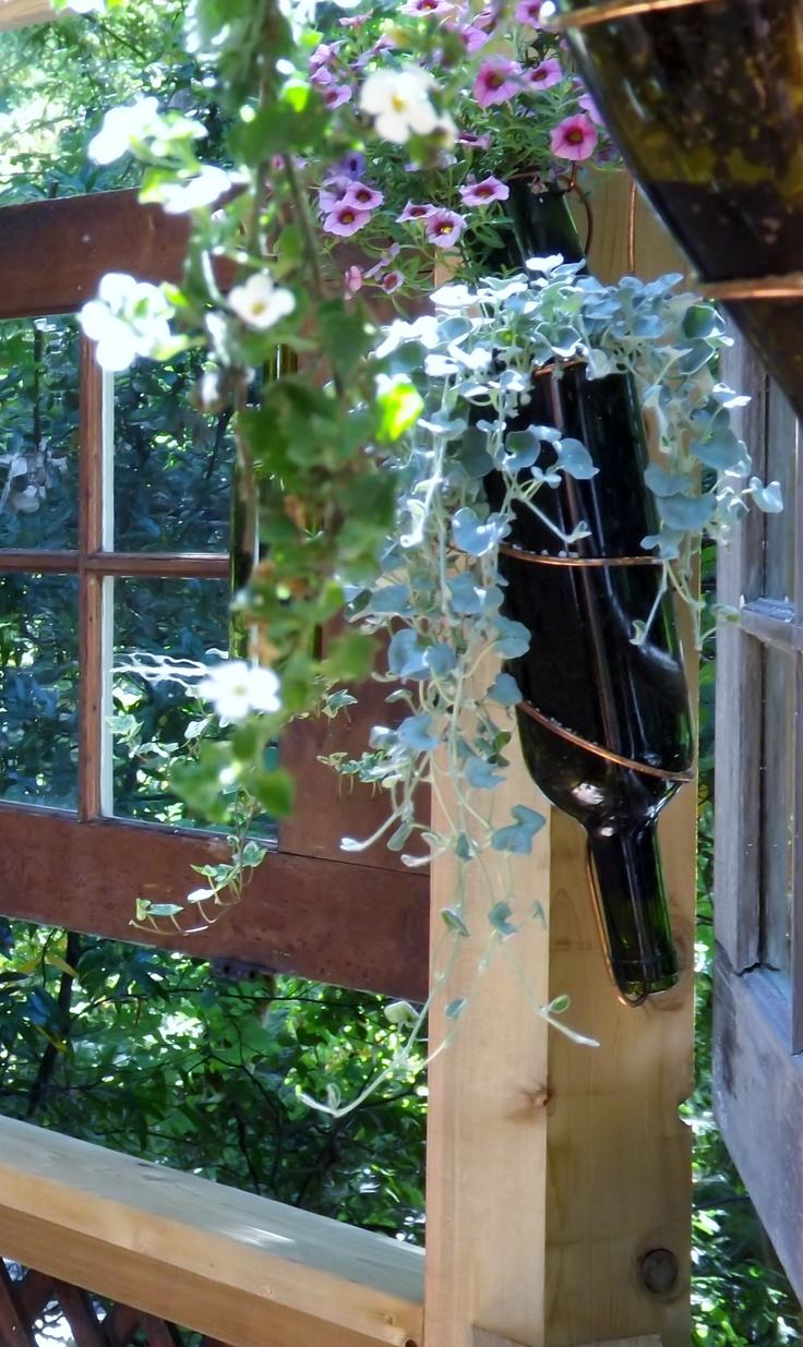 Wine bottle crafts outdoor - Wine Bottle Planters