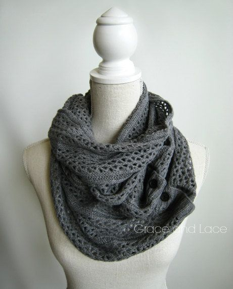 Nellie Knit Scarf - MID GREY - open weave knit scarf with button closure infinity scarf - chunky scarf - knit infinity scarf - button scarf on Wanelo