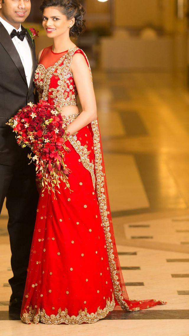 Homecoming sari with gold details