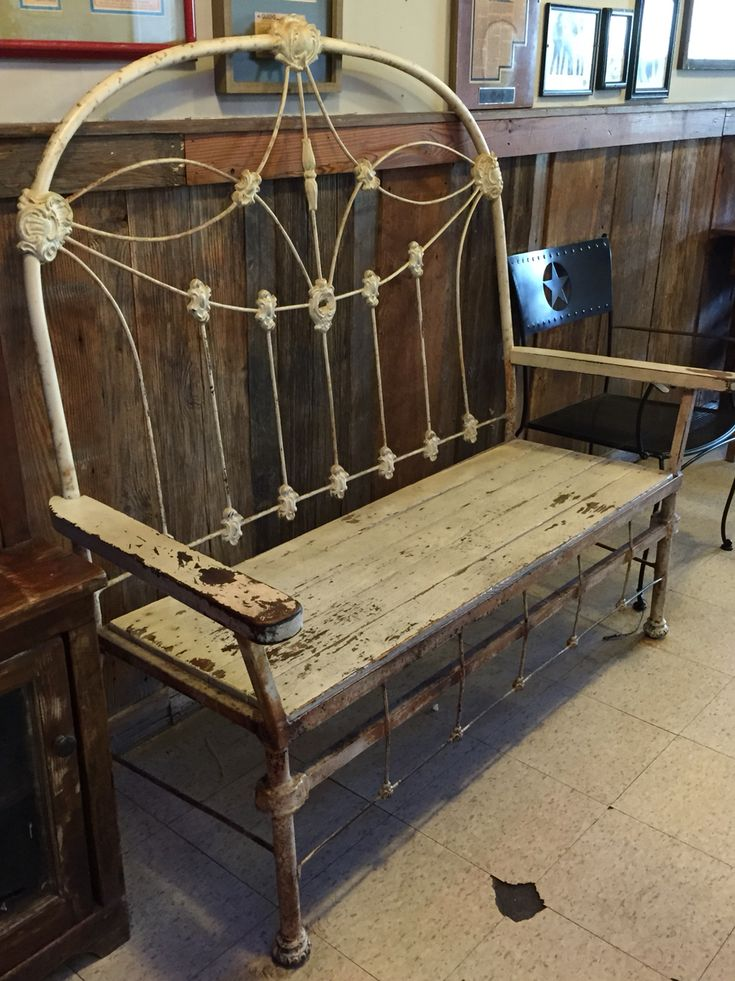 #antique iron bed & #reclaimed wood made into a bench