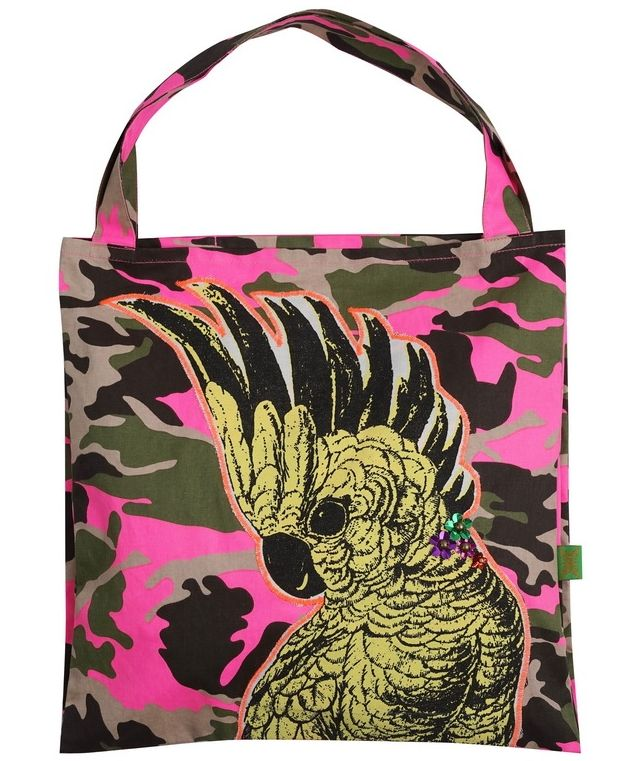 Bag in camouflage print with cockatoo appliqué