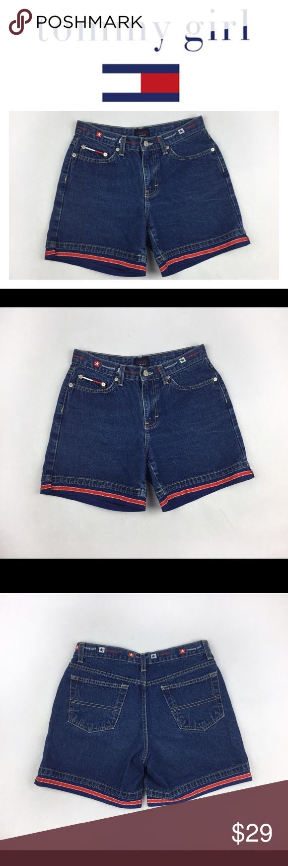 TOMMY HILFIGER TOMMY GIRL VINTAGE SHORTS SZ5 Hello 90s! These shorts are so ?$&! Cool! Tommy Hilfiger Tommy girl vintage denim shorts, with super cute white, blue and red details! No holes or stains. Questions? Ask me! Tommy Hilfiger Shorts