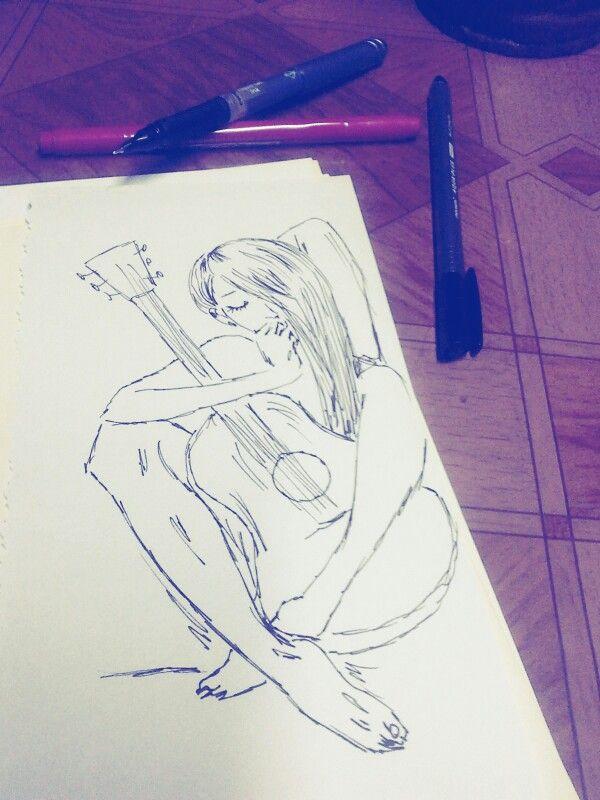 #mujer #guitarra #tipico #tiralineas #estilografo #dibujo #croquis