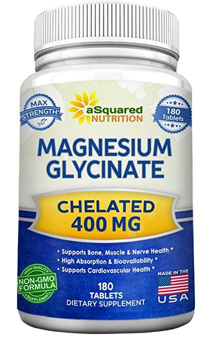 Magnesium Glycinate 400mg - 180 Tablets - Max Strength Magnesium Bisglycinate Chelate Supplement - Maximum Bioavailability & Absorption - Non-GMO - Supports Muscles, Bones & Heart