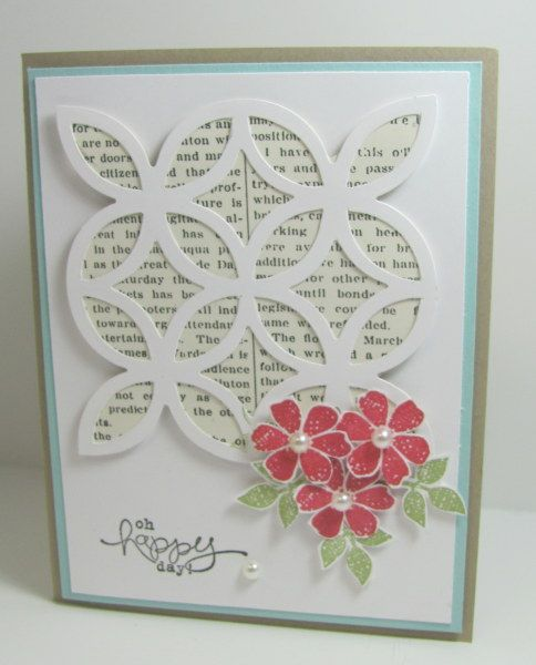 khandmade card: Lattice Newpaper Card ... pretty punched and stamped trio of flowers ...  Stampin' Up!