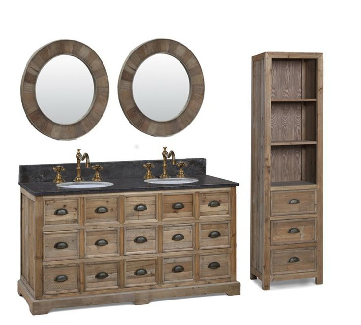 Web Image Gallery Legion inch Double Sink Rustic Bathroom Vanity Black Marble Top http