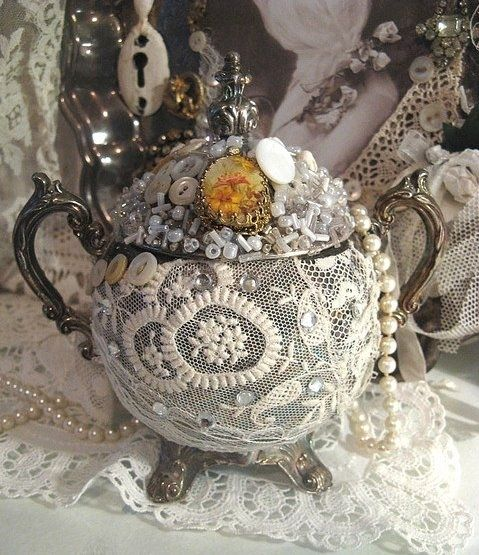 What a great idea for old silver plate tea pots!
