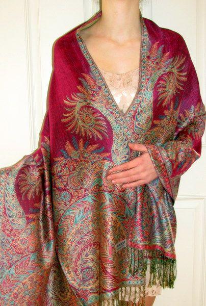 Hot Pink Fashion Designer Pashmina Shawl - just beautiful and so affordable