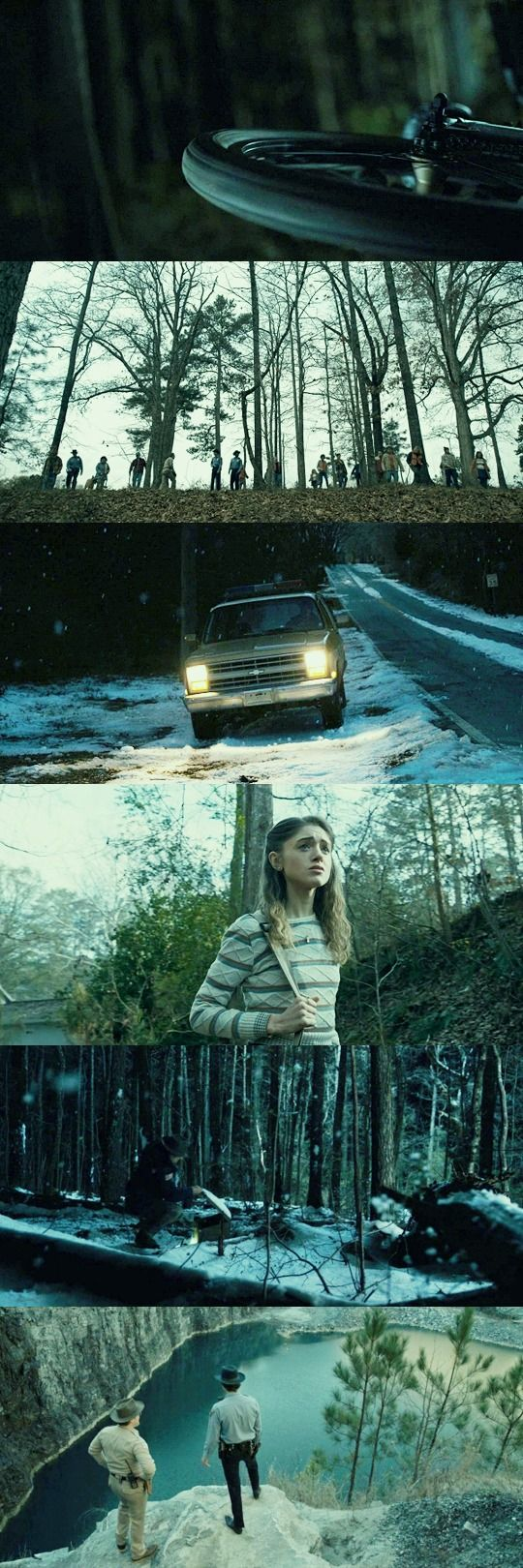 I used these shots from 'Stranger Things' because I think the shot compositions are brilliant. The dark colors and various shots usually give a vide of dismay and mystery.