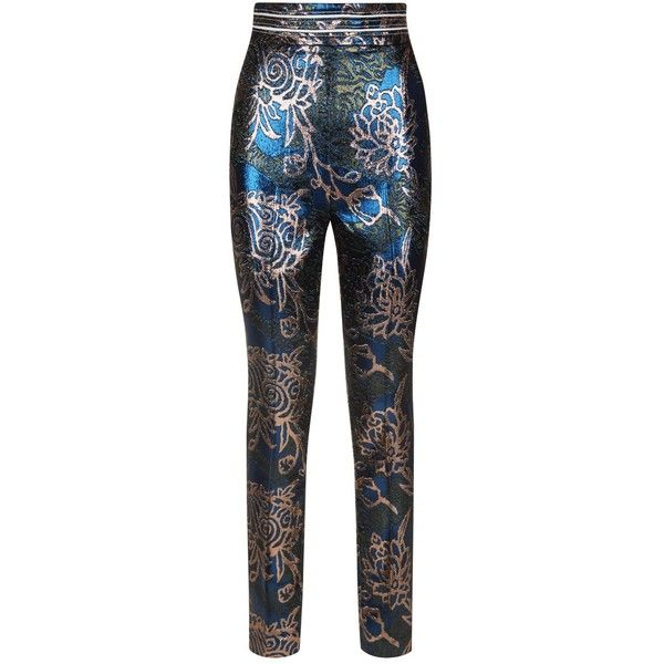 Peter Pilotto Metallic Jacquard Tapered Trousers ($865) ❤ liked on Polyvore featuring pants, tapered fit pants, jacquard pants, metallic trousers, jacquard trousers and metallic pants