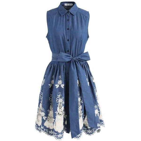 Chicwish Blossom Season Embroidered Sleeveless Denim Dress (3.115 RUB) ❤ liked on Polyvore featuring dresses, blue, rouched dress, ruching dress, ruched dress, embroidered denim dress and shirred dress